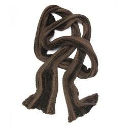 Écharpe chaperon plissé multicolore toile de soie laine cachemire