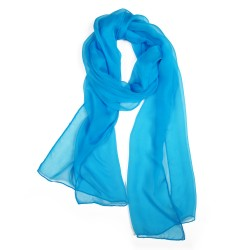 Scarf 180 plain silk chiffon rolled finish turquoise, by sophie guyot silks made in lyon france
