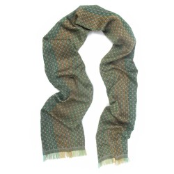 Narrow woven scarf, silk and cotton, made in Lyon France by sophie guyot silks design