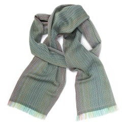 Narrow woven scarf silk and cotton made in Lyon France by sophie guyot silks accessory and fashion designer