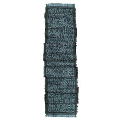 Narrow woven jacquard scarf silk wool made in lyon france sophie guyot silk and fashion design
