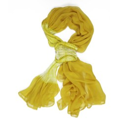 Mimousse pleated scarf in silk muslin made in Lyon France Sophie Guyot designer for fashion accessories and silks