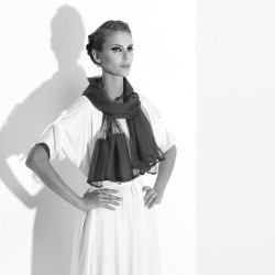 Long  pleated scarf in silk muslin Mimousse made in Lyon France Sophie Guyot designer for fashion accessories and silks