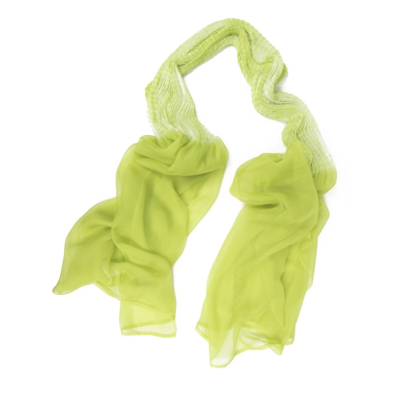 Pleated granmousse scarf in silk muslin made in Lyon France Sophie Guyot designer fashion accessories and silks