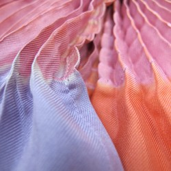 Long scarf plissenpli midi multicolored in silk twill pleated and dyed by sophie guyot soieries, Lyon, France