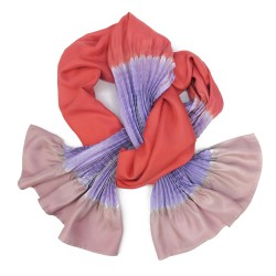 Scarf plissenpli midi multicolored in silk twill pleated and dyed by sophie guyot soieries, Lyon, France