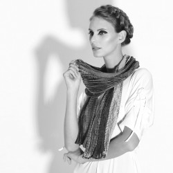 Plicatwill pleated full lenght scarf multicolor in silk twill made by sophie guyot silks in Lyon France