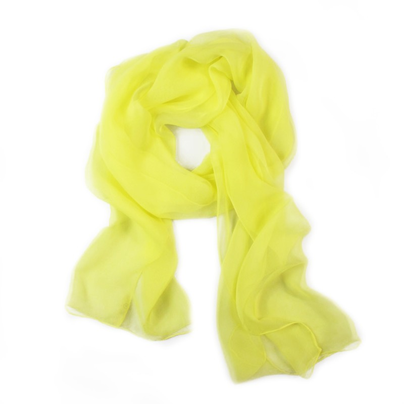 Scarf 180 plain silk chiffon rolled finish, clear yellow, by sophie guyot silks made in lyon france